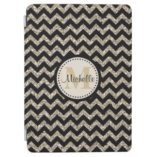 Black Chevron Silver Gold Monogram iPad Air Cover
