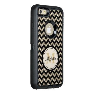 Black Chevron Silver Gold Monogram OtterBox iPhone 6/6s Plus Case