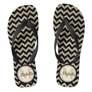 Black Chevron Silver Gold Personalized Thongs