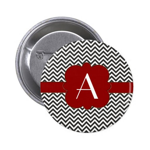 Black Chevron with Gold Trimmed Red Frame Pin