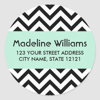 Black chevron zigzag pattern mint green address round sticker