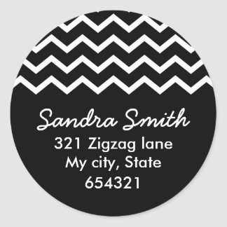 Black chevron zigzag pattern zig zag address label stickers