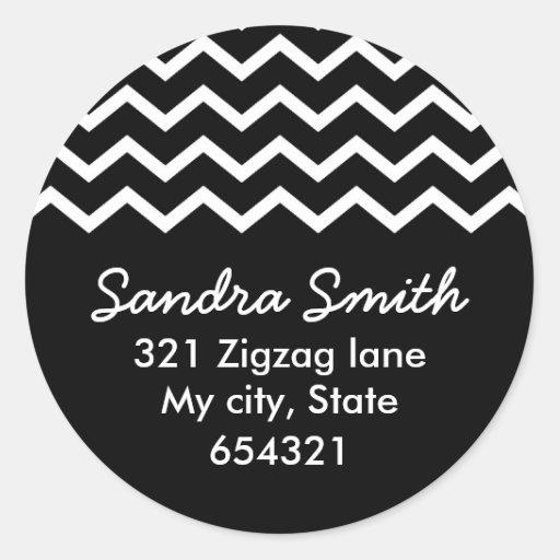Black chevron zigzag pattern zig zag address label stickers