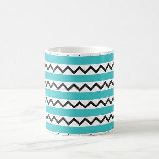 Black chevron zigzags and aqua blue stripes coffee mug