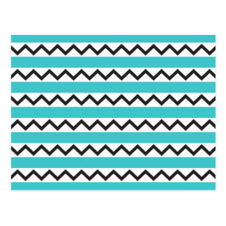 Black chevron zigzags and aqua blue stripes postcard