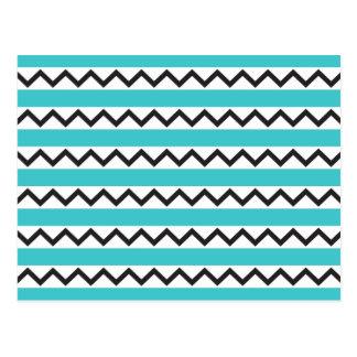 Black chevron zigzags and aqua blue stripes postcards