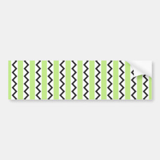 Black chevron zigzags and lime green stripes bumper sticker