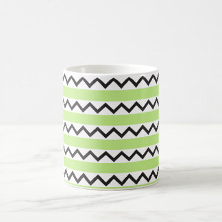 Black chevron zigzags and lime green stripes coffee mugs
