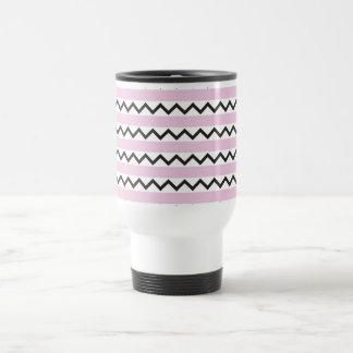 Black chevron zigzags and pale pink stripes coffee mug