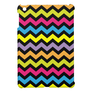 Black Chevron Zigzags with Bright Colors iPad Mini Cover