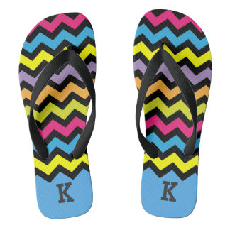 Black Chevron Zigzags with Bright Colors Monogram Thongs