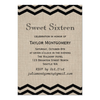 Black Chevrons on Burlap Sweet Sixteen Invitation