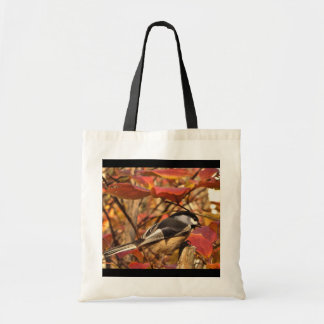 Black Chickadee Bird with Red Pink Autumn Leaves Tote Bag