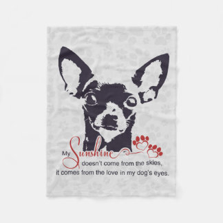 Black Chihuahua Dog My Sunshine Fleece Blanket