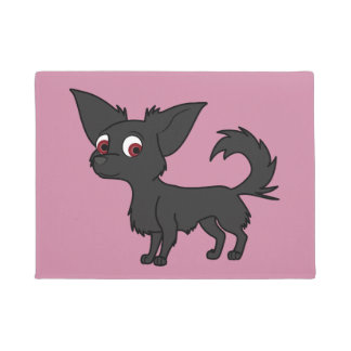 Black Chihuahua with Long Hair Doormat