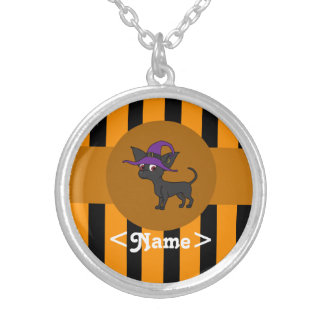 Black Chihuahua with Witch Hat & Orange Stripes Round Pendant Necklace