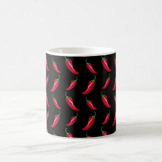 Black chili peppers pattern coffee mug