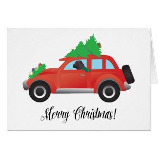 Black Chinese Shar-Pei Driving Christmas Car Card