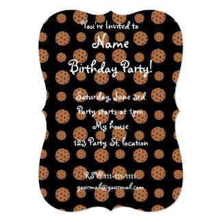 Black chocolate chip cookies pattern card
