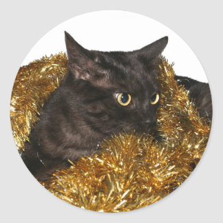 Black Christmas cat Classic Round Sticker