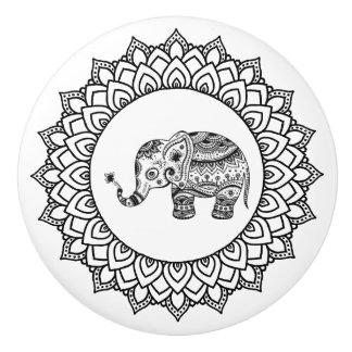Black Circle Mandala & Black Floral Elephant Ceramic Knob