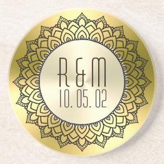 Black Circle Mandala & Metallic Gold Coaster