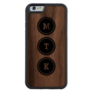 Black Circle Monogram Carved Walnut iPhone 6 Bumper Case