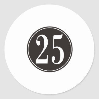 Black Circle - Number 25 (front) Classic Round Sticker