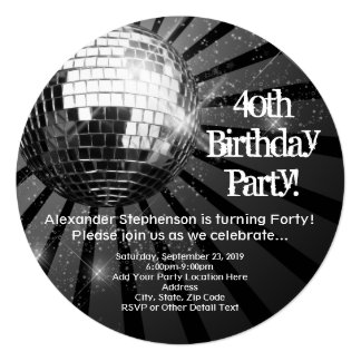 Black Circle Round Disco Ball 40th Birthday Party Card