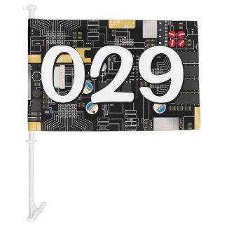 Black circuit board car flag