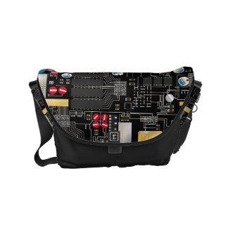 Black circuit board commuter bags