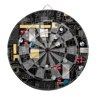 Black circuit board dartboard