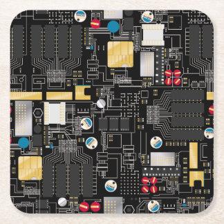 Black circuit board square paper coaster