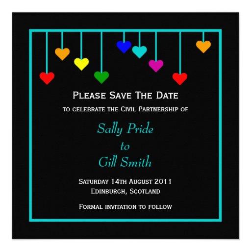 Black Civil Partnership Heart Save The Date Invite