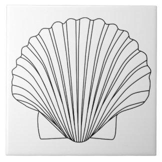 Black Clam Scallop Seashell Ceramic Tile