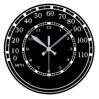 Black Classic Car Speedometer Garage Wall Clock