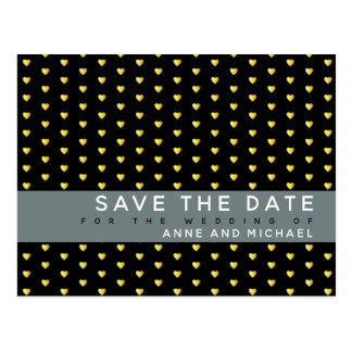 black classy save-the-date wedding postcard