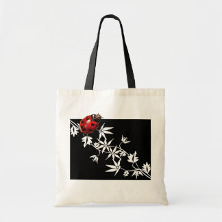 Black clematis ladybug heart design tote bag