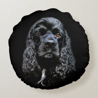 Black cocker spaniel face round cushion