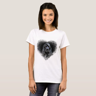 Black Cocker Spaniel in heart T-Shirt