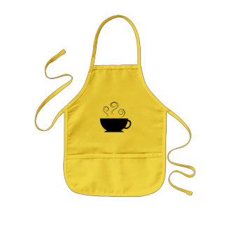 Black Coffee Cup Steam Swirls Apron
