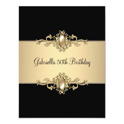 Black Coffee Trim 50th Birthday Party Pearl Invite