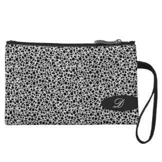 Black coils pattern purse with monogram wristlets
