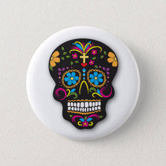 Black Colorful Mexican Sugar Skull Day of the Dead 6 Cm Round Badge