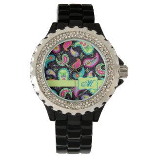Black Colorful Modern Paisley Pattern Monogram Watch