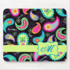 Black Colourful Modern Paisley Pattern Monogram Mouse Pad