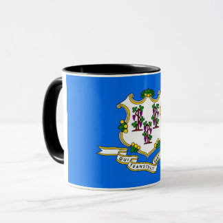 Black Combo Mug with flag of Connecticut, USA