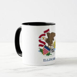 Black Combo Mug with flag of Illinois, USA