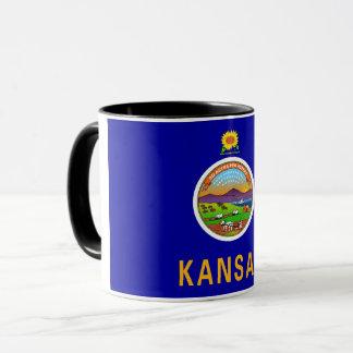 Black Combo Mug with flag of Kansas, USA