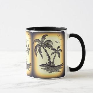 Black Combo Mug with Palm Trees